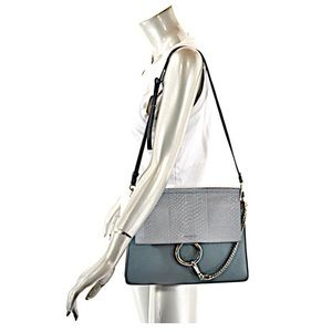Chloe Bags - Chloe Faye ice gray python flap blue leather bag